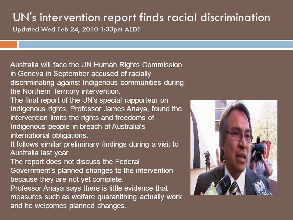 UN s intervention report finds racial discrimination