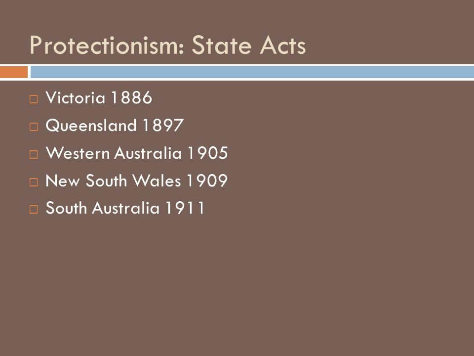 Protectionism: State Acts