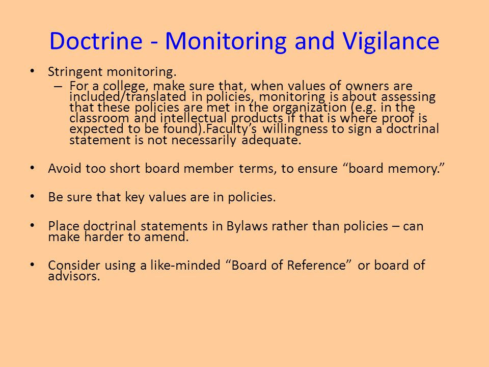 Doctrine - Monitoring and Vigilance