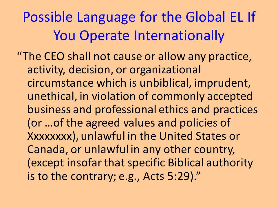 Possible Language for the Global EL If You Operate Internationally