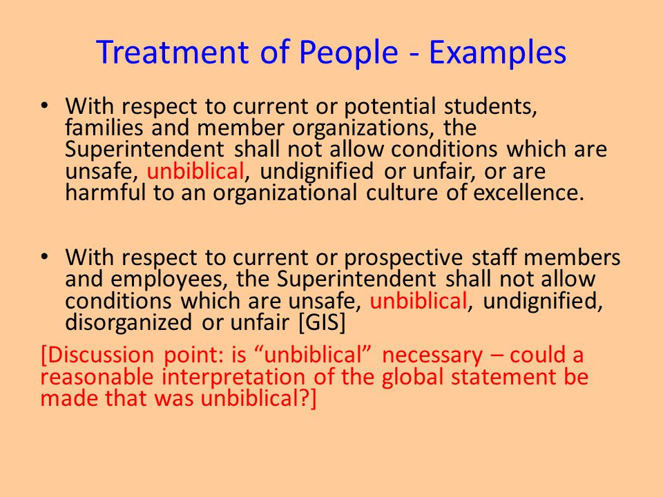 Treatment of People - Examples