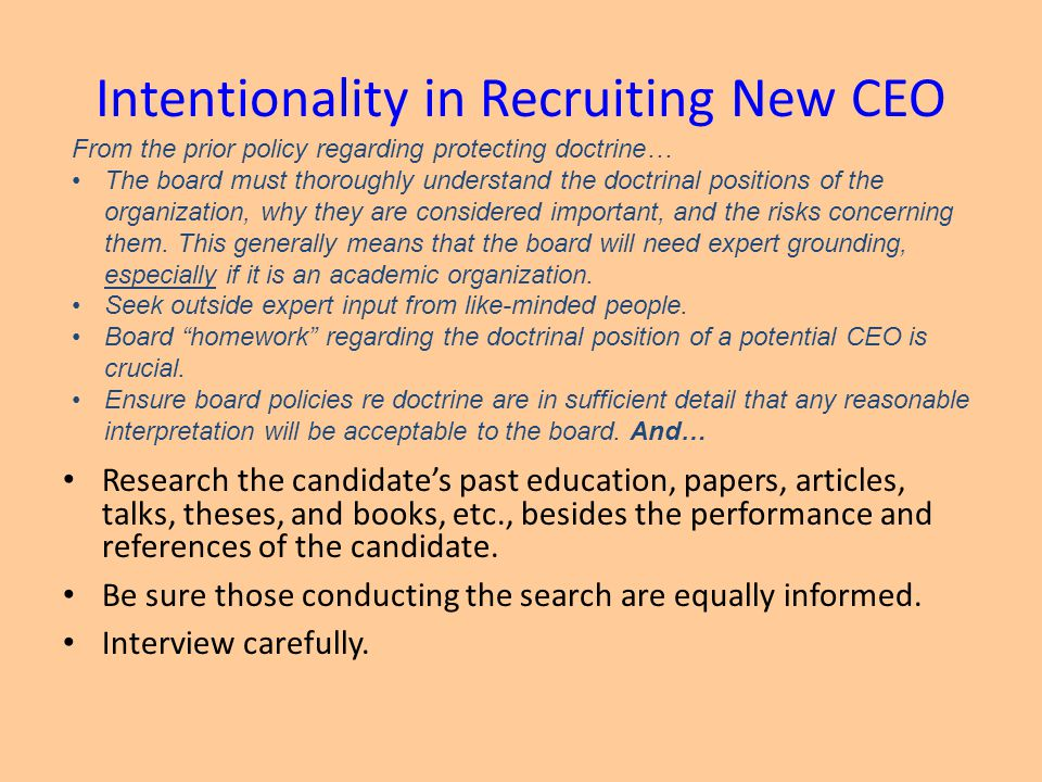 Intentionality in Recruiting New CEO