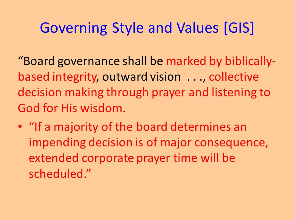 Governing Style and Values [GIS]