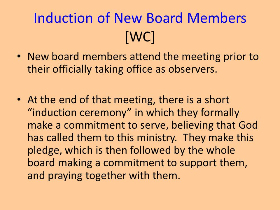 Induction of New Board Members [WC]