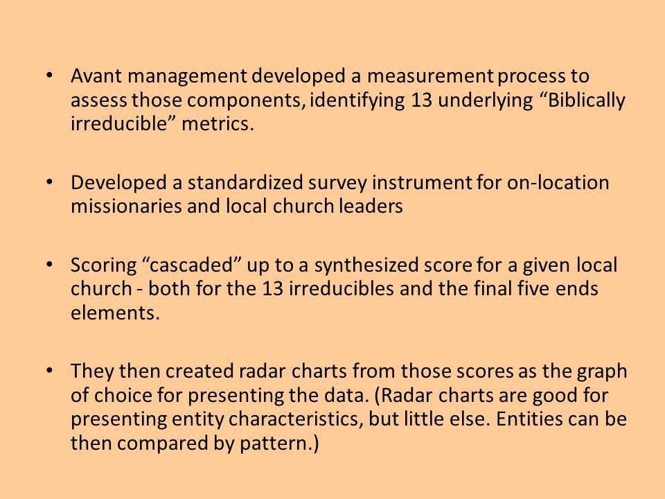 Avant management developed a measurement process to assess those components, identifying 13 underlying Biblically irreducible metrics.