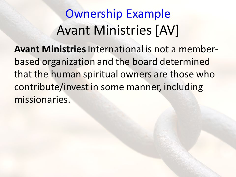 Ownership Example Avant Ministries [AV]