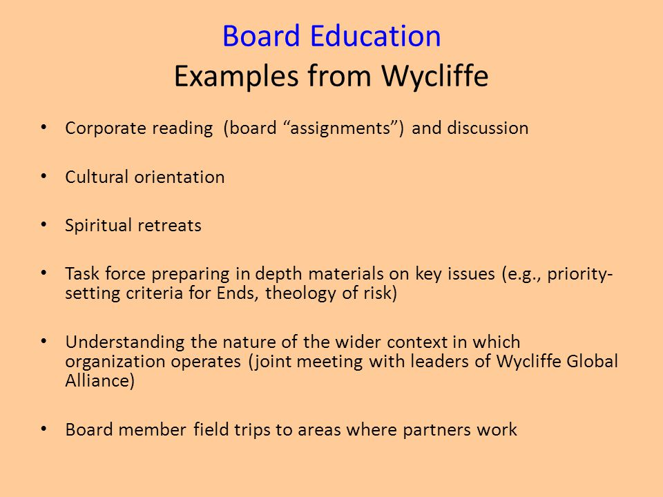 Board Education Examples from Wycliffe