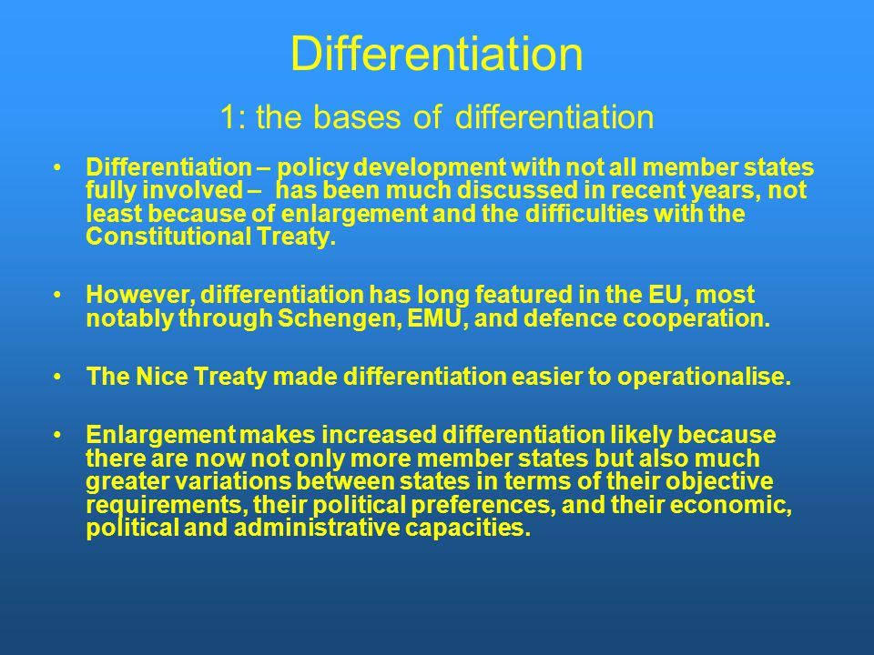 Differentiation 1: the bases of differentiation