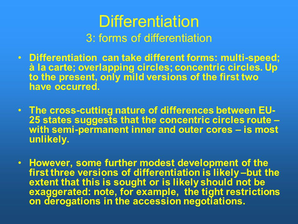 Differentiation 3: forms of differentiation