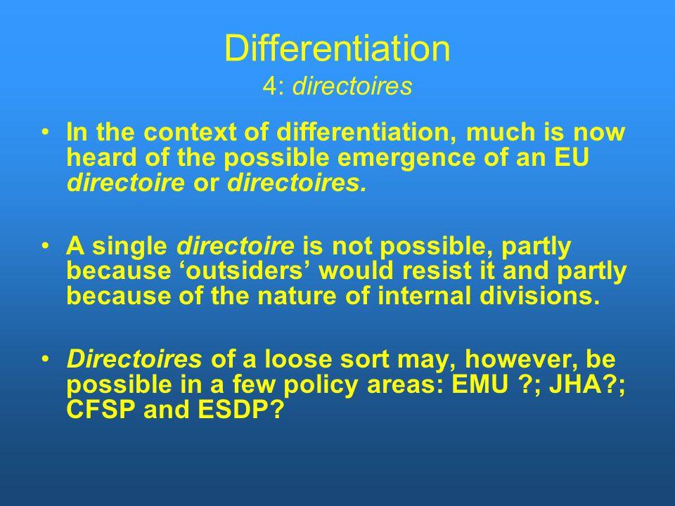 Differentiation 4: directoires