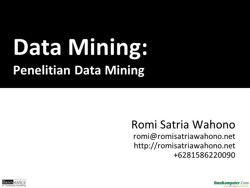 Data Mining: Penelitian Data Mining