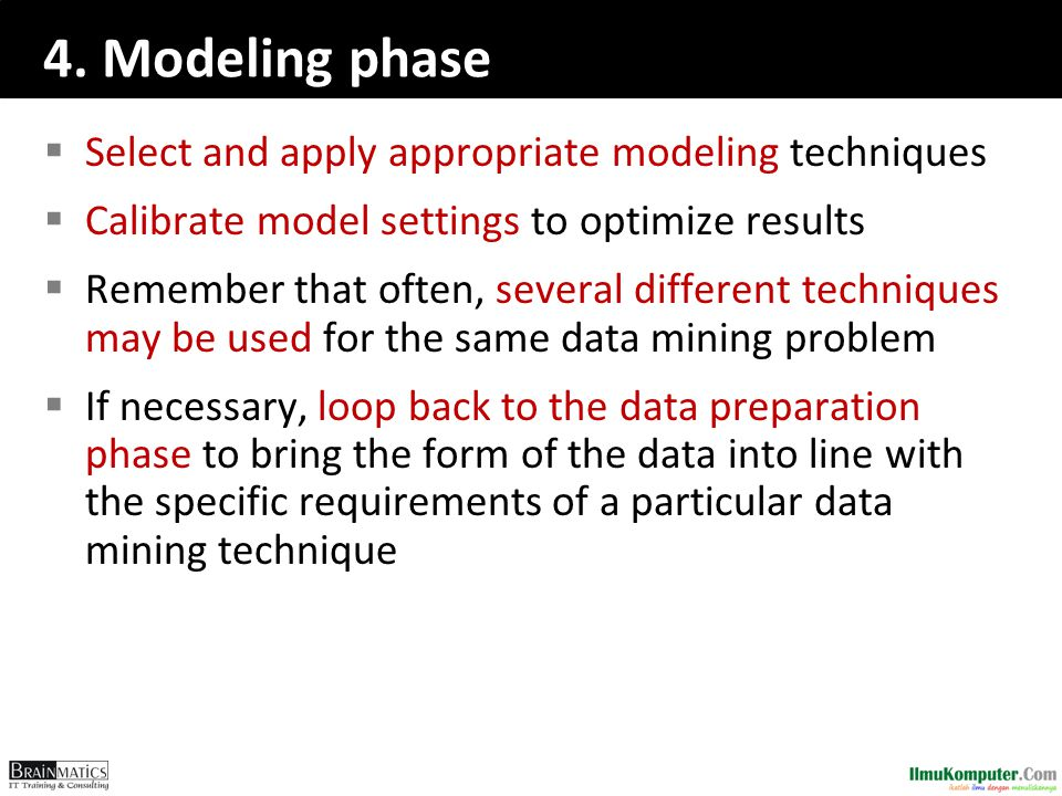 4. Modeling phase Select and apply appropriate modeling techniques