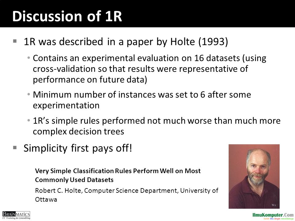 Discussion of 1R 1R was described in a paper by Holte (1993)