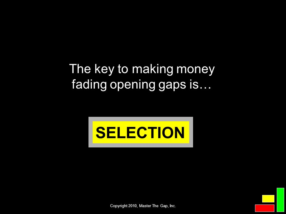 SELECTION The key to making money fading opening gaps is…