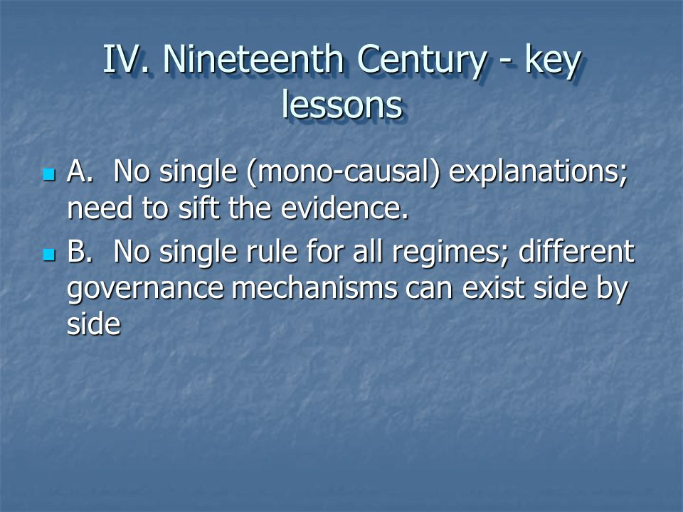IV. Nineteenth Century - key lessons