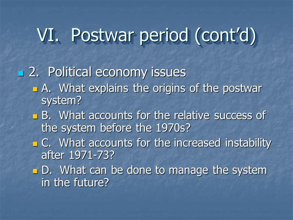 VI. Postwar period (cont'd)