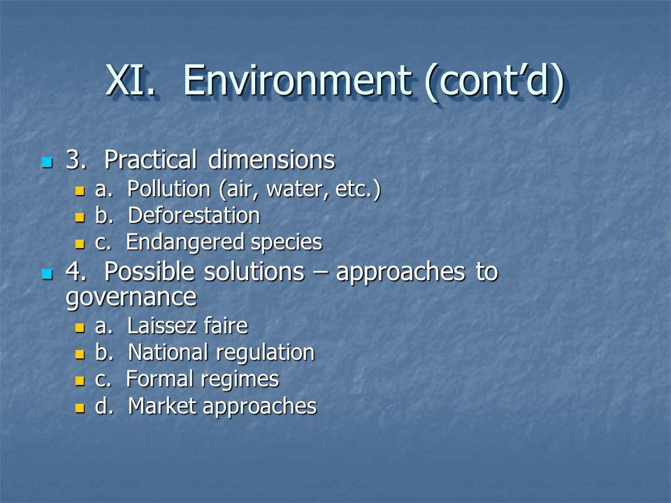 XI. Environment (cont'd)
