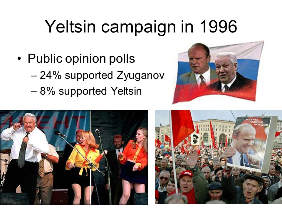 Yeltsin campaign in 1996 Public opinion polls 24% supported Zyuganov