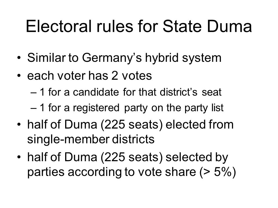 Electoral rules for State Duma