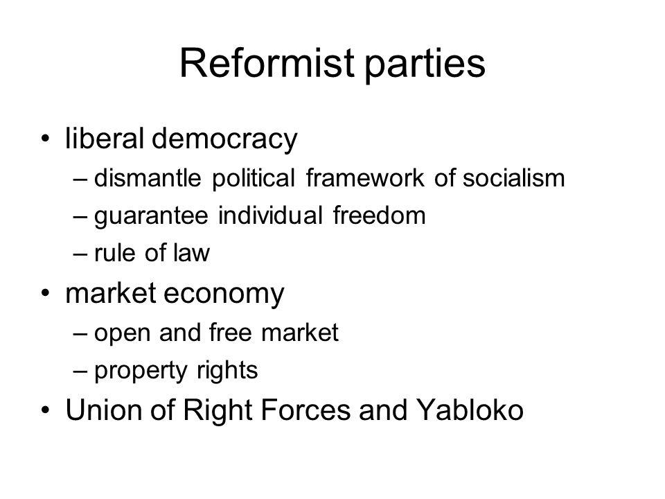 Reformist parties liberal democracy market economy