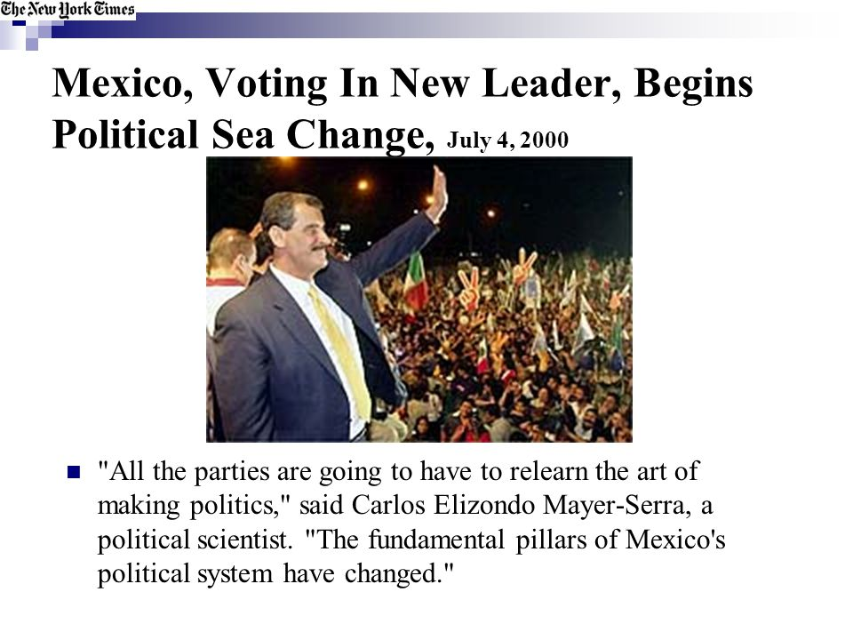 Mexico, Voting In New Leader, Begins Political Sea Change, July 4, 2000