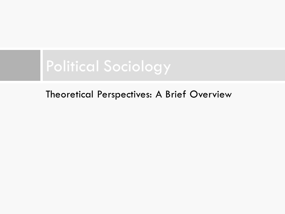 Political Sociology Theoretical Perspectives: A Brief Overview
