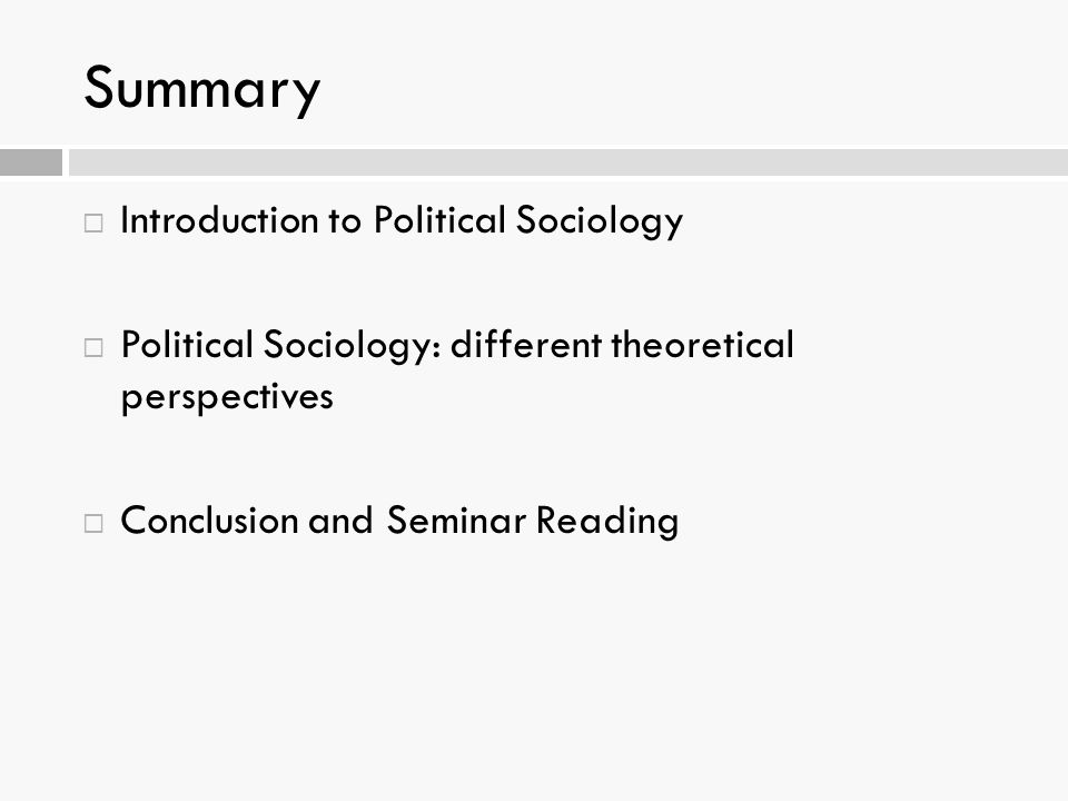 Summary Introduction to Political Sociology
