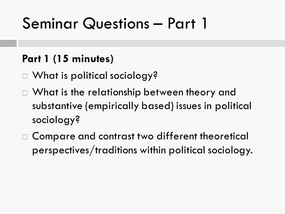 Seminar Questions – Part 1