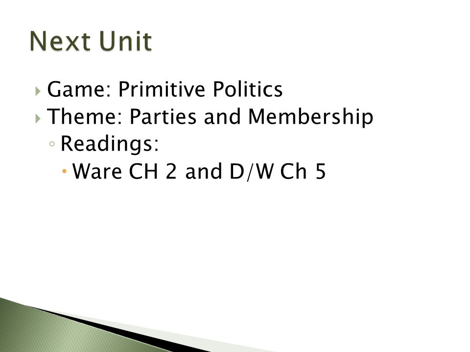 Next Unit Game: Primitive Politics Theme: Parties and Membership
