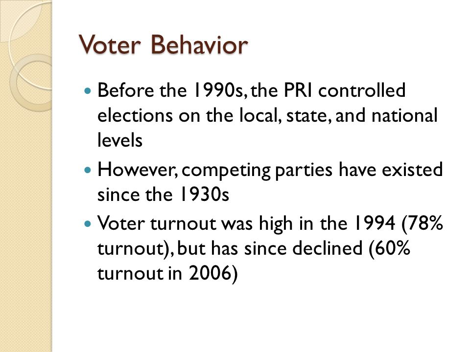 Voter Behavior Before the 1990s, the PRI controlled elections on the local, state, and national levels.