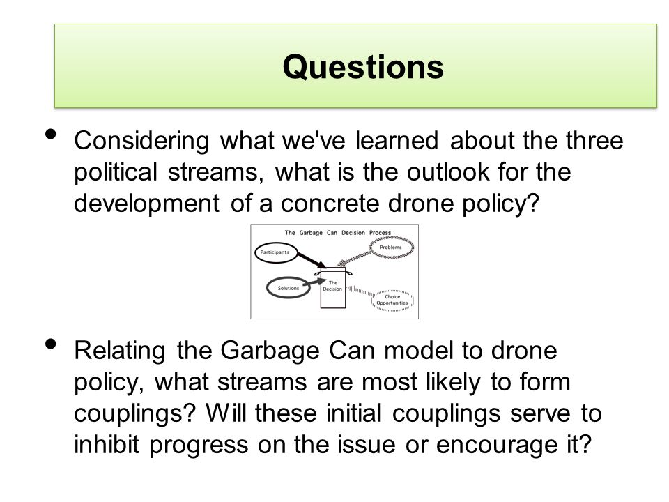 Questions Considering what we ve learned about the three political streams, what is the outlook for the development of a concrete drone policy