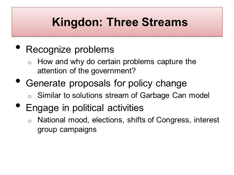 Kingdon: Three Streams