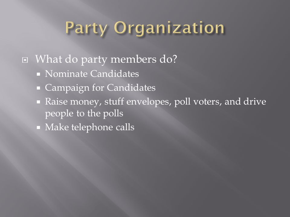 Party Organization What do party members do Nominate Candidates
