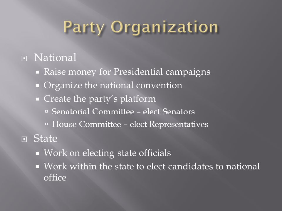 Party Organization National State