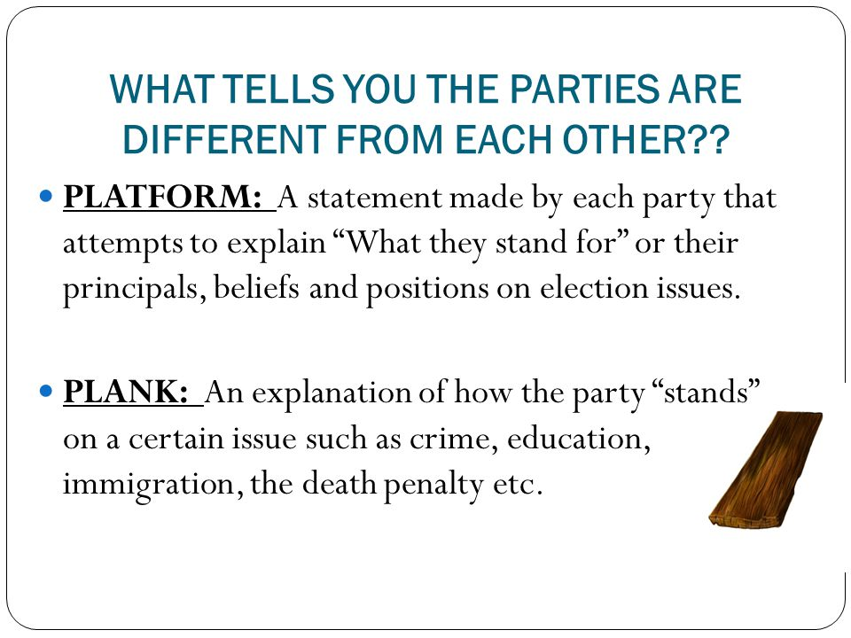 WHAT TELLS YOU THE PARTIES ARE DIFFERENT FROM EACH OTHER