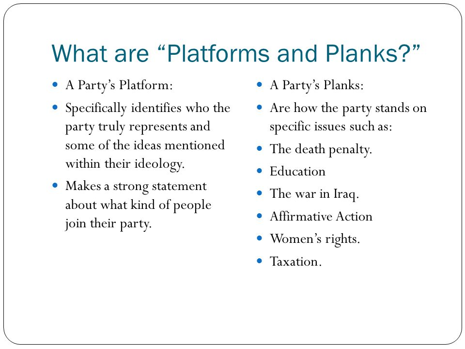 What are Platforms and Planks