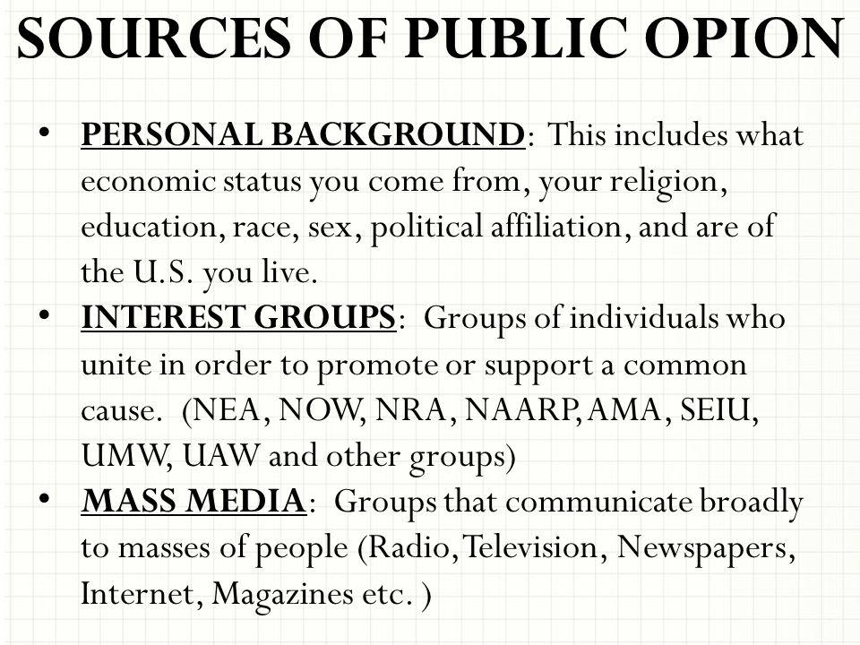 SOURCES OF PUBLIC OPION