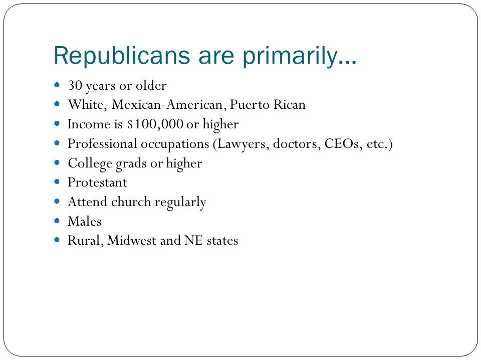 Republicans are primarily…