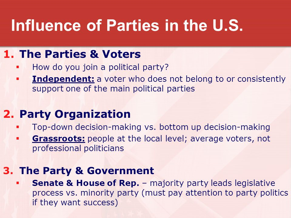 Influence of Parties in the U.S.