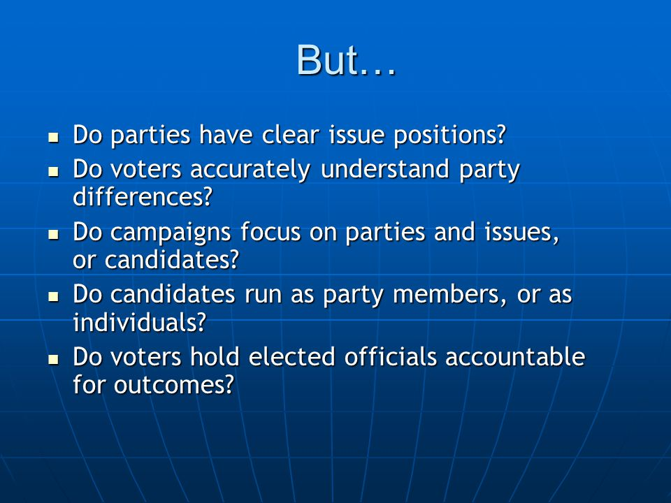 But… Do parties have clear issue positions