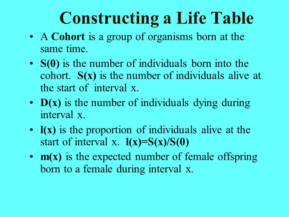 Constructing a Life Table