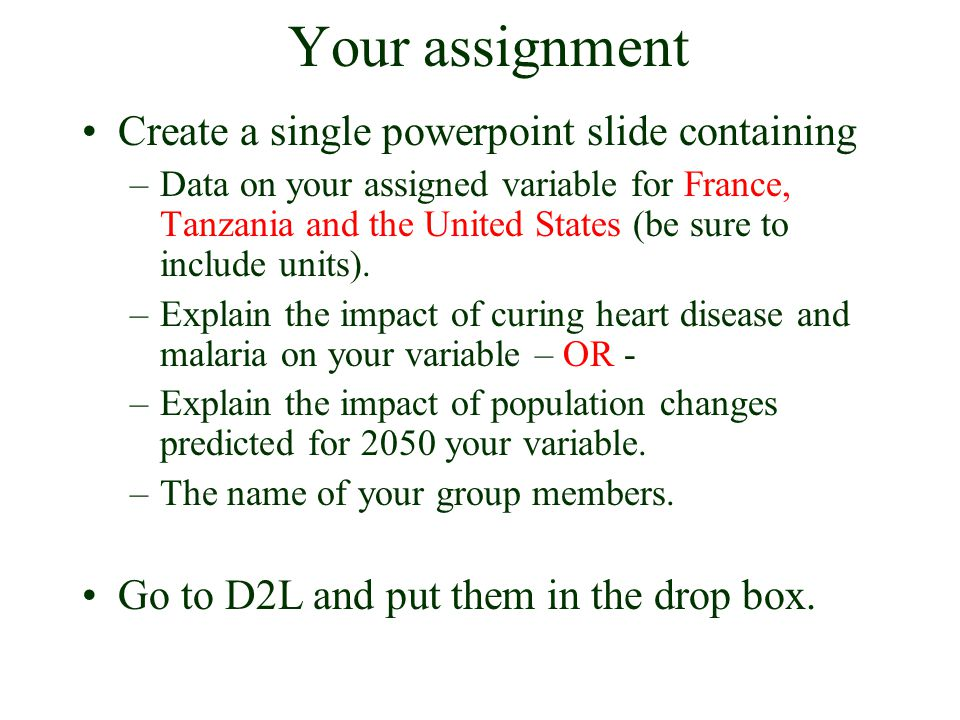 Your assignment Create a single powerpoint slide containing