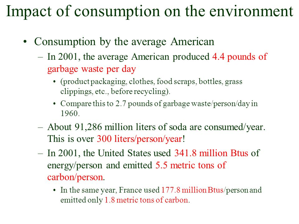 Impact of consumption on the environment