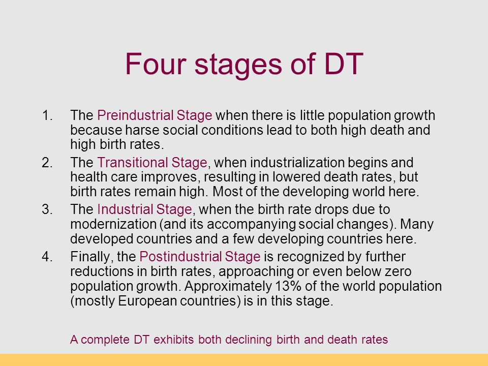 Four stages of DT