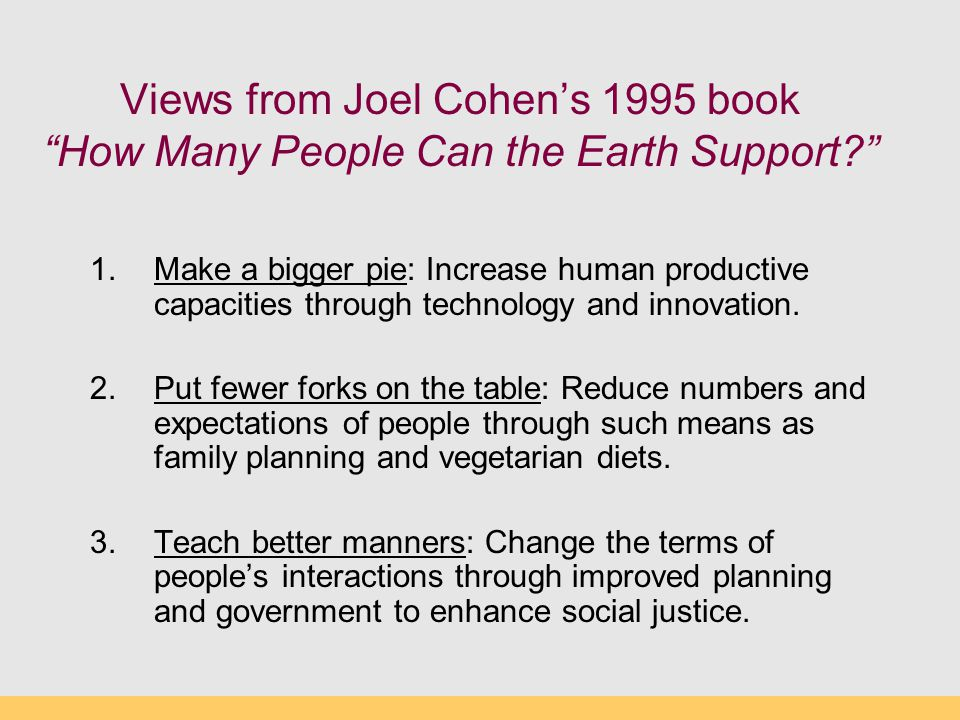Views from Joel Cohen's 1995 book How Many People Can the Earth Support