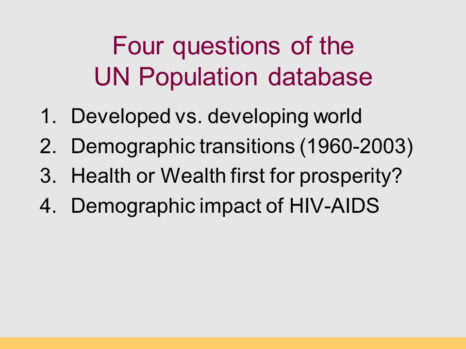 Four questions of the UN Population database
