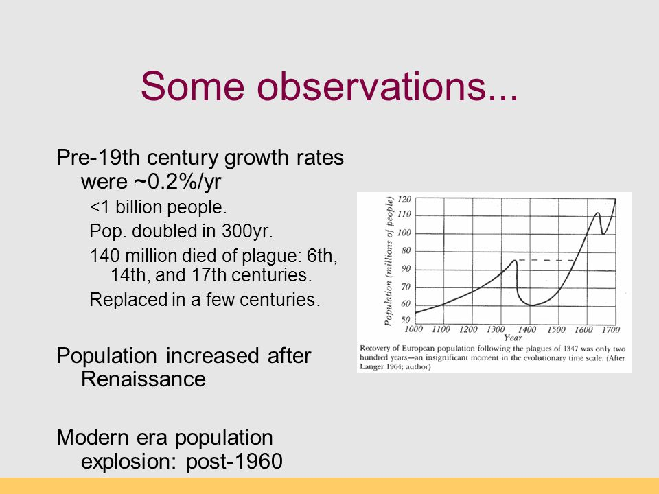 Some observations... Pre-19th century growth rates were ~0.2%/yr