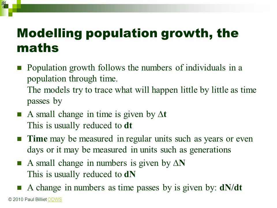 Modelling population growth, the maths