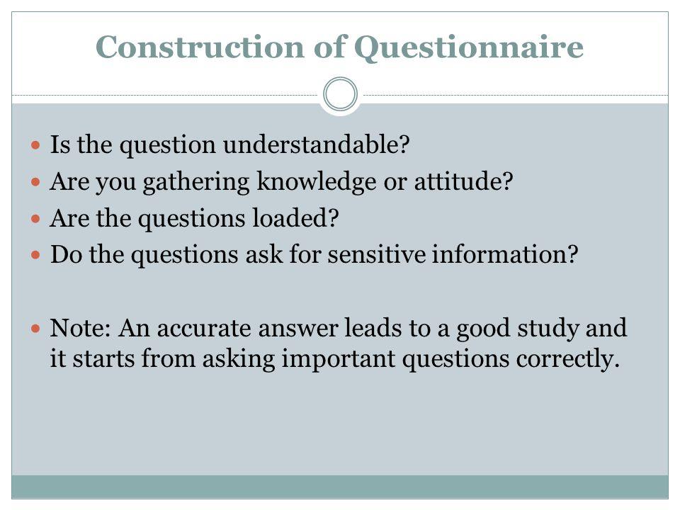 Construction of Questionnaire