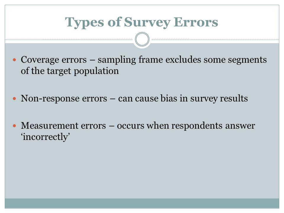 Types of Survey Errors Coverage errors – sampling frame excludes some segments of the target population.